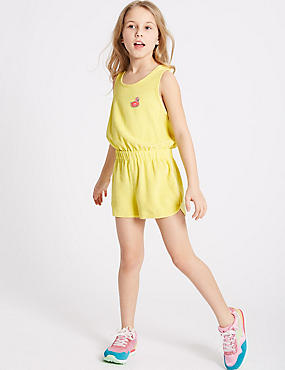 Cotton Rich Towelling Playsuit (3-16 Years), YELLOW MIX, catlanding