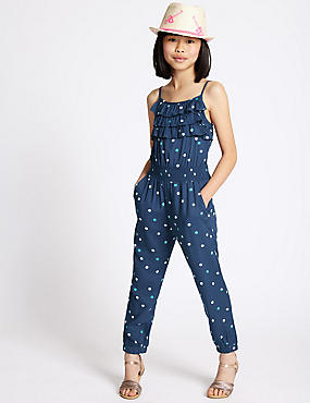 Strappy Frill Jumpsuit (3-14 Years), MULTI, catlanding