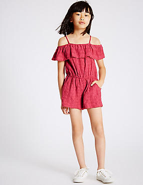 Pure Cotton Playsuit (3-14 Years), RUBY, catlanding