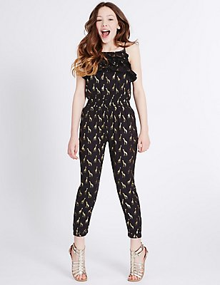 Animal Print Jumpsuit (3-14 Years), BLACK MIX, catlanding