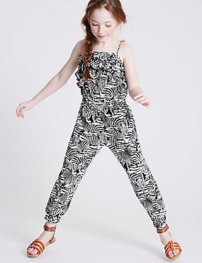 Animal Print Jumpsuit (3-14 Years), BLACK/WHITE, catlanding