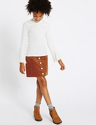 Two Piece Top & Skirt Outfit (3-14 Years), BROWN MIX, catlanding