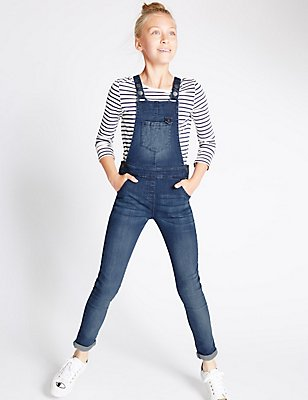 Cotton Denim Dungarees with Stretch (3-14 Years), MED BLUE DENIM, catlanding