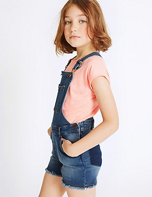 Denim Dungarees (3-14 Years), MED BLUE DENIM, catlanding