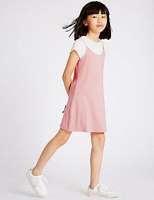 2-teiliges Outfit bestehend aus Kleid und T-Shirt (3-14 Jahre), ROSA MELANGE, catlanding