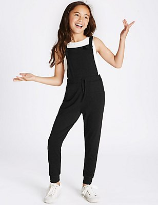 Tie Waist Jumpsuit (3-14 Years), BLACK, catlanding