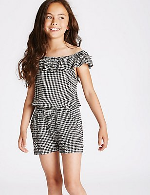 Cold Shoulder Gingham Playsuit (3-14 Years), MULTI, catlanding