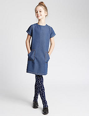 Pure Cotton A-Line Dress (3-14 Years), MED BLUE DENIM, catlanding