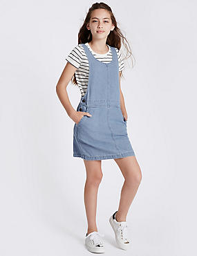 Pure Cotton Denim Dress Outfit with StayNEW™  (3-14 Years), MED BLUE DENIM, catlanding