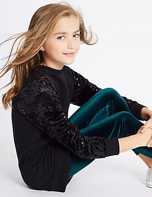 Velvet Longline Top & Leggings Outfit (3-14 Years), BLACK MIX, catlanding