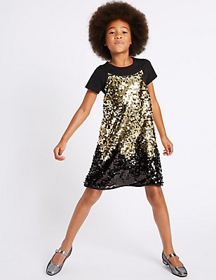 Sequin Dress & Top Outfit (3-14 Years), BLACK MIX, catlanding