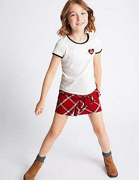 2 Piece Pure Cotton T-Shirt with Skirt Outfit (3-14  Years), RED MIX, catlanding