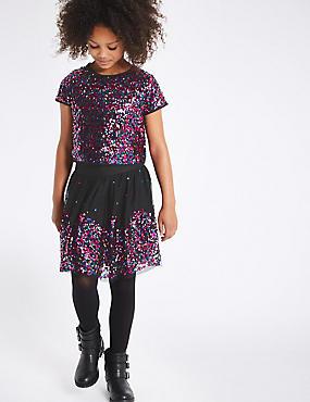 Sequin Top with Skirt (3-14 Years), MULTI, catlanding