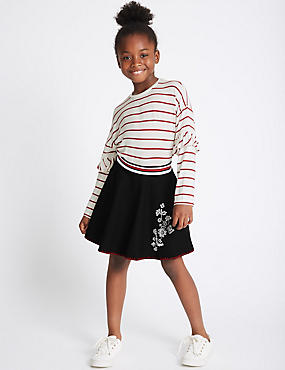 2 Piece Top & Embroidered Skirt Outfit (3-14 Years), MULTI, catlanding