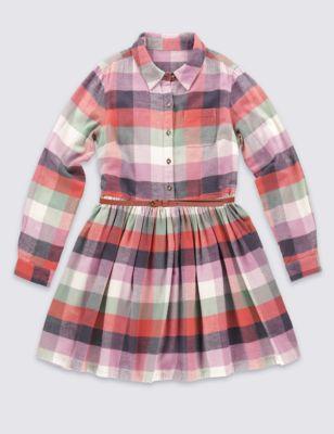 Платье из чистого хлопка в крупную клетку для девочки 6-14 лет