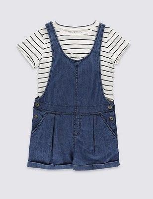 2 Piece Dungaree & T-Shirt Outfit (5-14 Years), DENIM MIX, catlanding