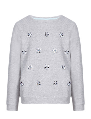 Cotton Rich Embellished Sweat Top (5-14 Years) Clothing