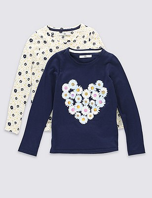 2 Pack Pure Cotton Floral T-Shirts (5-14 Years), MULTI, catlanding