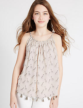 Giraffe Print Vest Top (3-14 Years), PALE BLUSH, catlanding