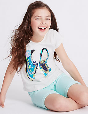 Pure Cotton Sequin Top with StayNEW™ (3-14 Years), MULTI, catlanding