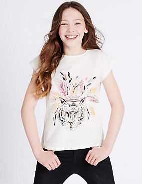 Pure Cotton Animal Print Top (3-14 Years), IVORY MIX, catlanding