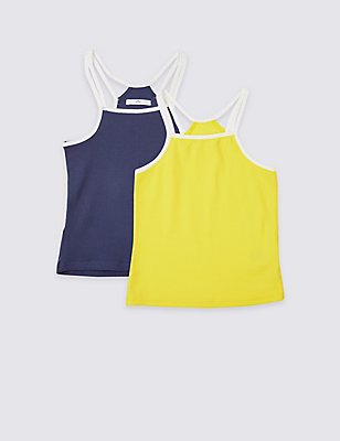 2 Pack Cotton Vest Tops with Stretch (3-14 Years), MULTI, catlanding