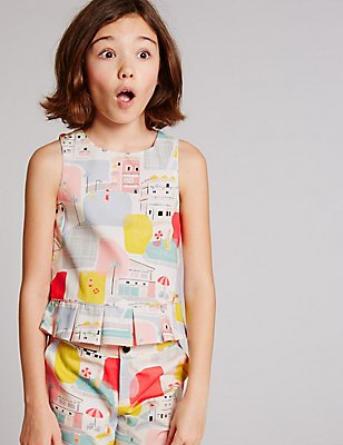 Pure Cotton All Over Print Top (3-14 Years), MULTI, catlanding