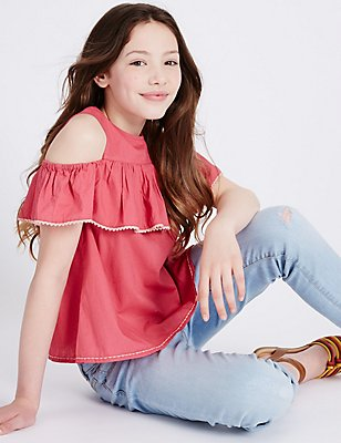Pure Cotton Cut Out Shoulder Frill Top (3-14 Years), RUBY, catlanding