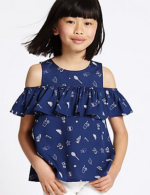 Printed Cut Out Shoulder Frill Top (3-14 Years), NAVY MIX, catlanding