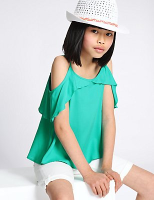 Cold Shoulder Frill Camisole Top (3-14 Years), JADE, catlanding