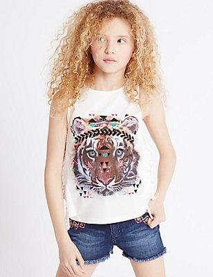 Pure Cotton Animal Print Vest Top (3-14 Years) , WHITE MIX, catlanding
