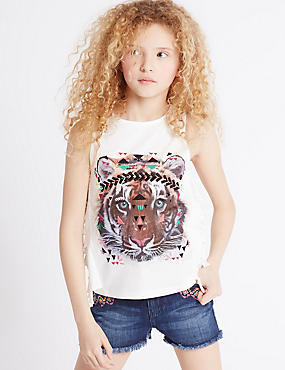 Pure Cotton Animal Print Vest Top (3-14 Years) , WHITE MIX, catlanding
