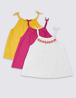 3 Pack Pure Cotton Vest Tops (3-14 Years), WHITE MIX, catlanding