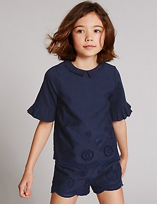 Pure Cotton Broderie Top (3-14 Years), NAVY, catlanding