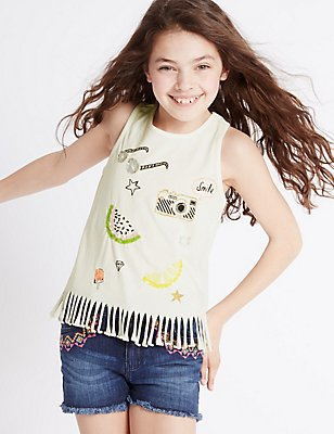 Pure Cotton Sequin Top (3-14 Years), IVORY MIX, catlanding
