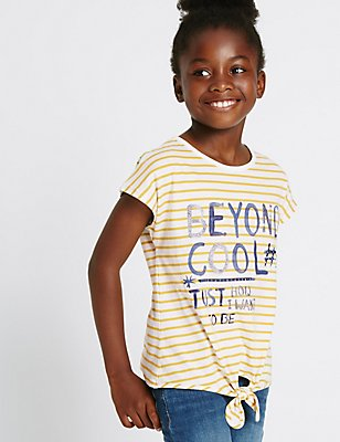Pure Cotton Striped Front Tie Top (3-14 Years), YELLOW MIX, catlanding