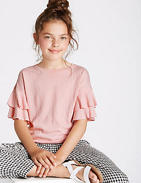 Crinkle Frill Sleeve Top (3-14 Years), MEDIUM PINK, catlanding