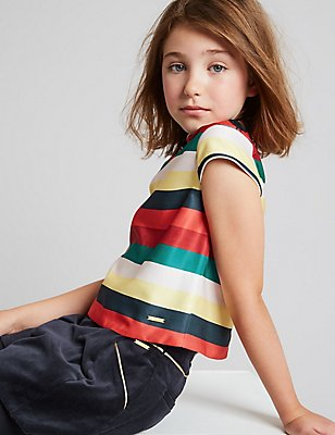 Striped Crew Neck Top (3-14 Years), MULTI, catlanding