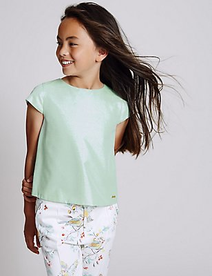Cotton Blend Sparkle Top (3-14 Years), GREEN, catlanding