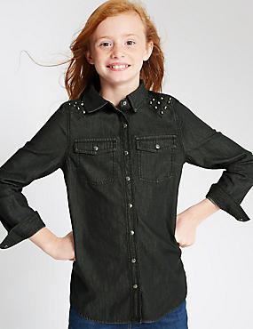 Pure Cotton Denim Shirt with StayNEW™ (5-14 Years), GREY, catlanding