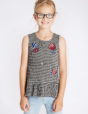 Badged Gingham Top (3-14 Years), MULTI, catlanding