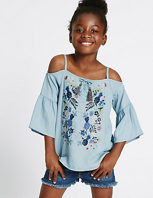 Embroidered Cold Shoulder Blouse (3-14 Years), LIGHT DENIM, catlanding