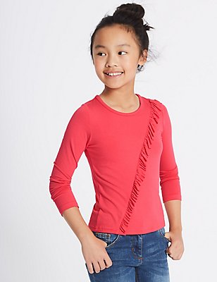 Frill Long Sleeve Top (3-14 Years), CERISE, catlanding