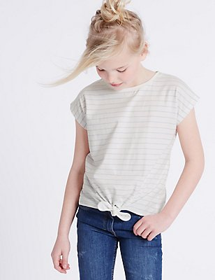 Pure Cotton Tie Front Top (3-14 Years), WHITE MIX, catlanding