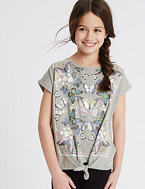 Tie Front Cap Sleeve Top (3-14 Years), LIGHT GREY, catlanding