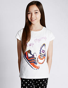 Pure Cotton Sequin Embellished Trainers T-Shirt (5-14 Years)