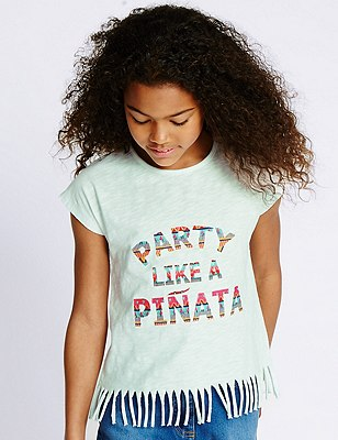 Pure Cotton Party Like a Pinata Slogan T-Shirt (5-14 Years), IVORY MIX, catlanding