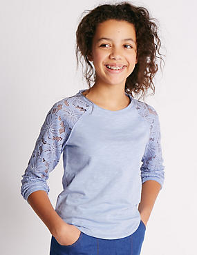 Pure Cotton Floral Lace Sleeve Top (5-14 Years)