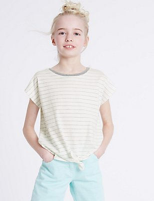 Cotton Rich Striped Top (3-14 Years), WHITE MIX, catlanding
