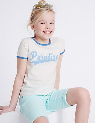 Pure Cotton Short Sleeve Top (3-14 Years), WHITE MIX, catlanding